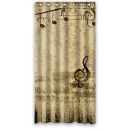 """36""""x72"""" Inches - Retro Stave Music Notes And Piano Keys Show"""
