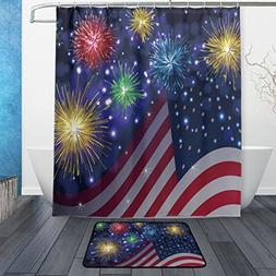 ALAZA Independence Day American Flag and Firework 60X72in Mi