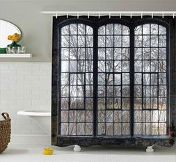 Ambesonne Industrial Decor Collection, Old Large Window with