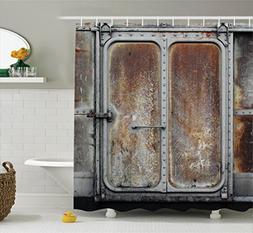industrial decor shower curtain set