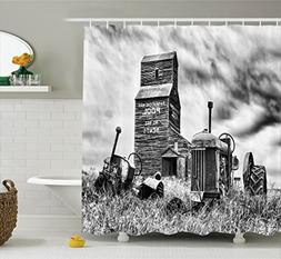 Ambesonne Industrial Decor Shower Curtain Set, Old 60S Aband