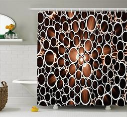 Ambesonne Industrial Shower Curtain, Round Pipes in 3D Style