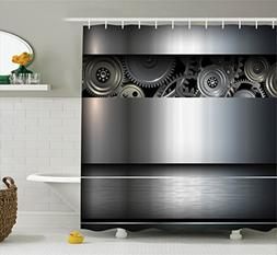 Ambesonne Industrial Shower Curtain, Technological Gears Rob