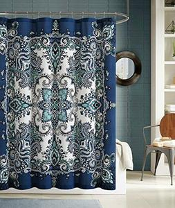 Instabul Shower Curtain Set with 12 Roller Ball Hooks