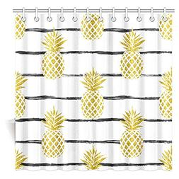 InterestPrint Pineapple Decor Shower Curtain, Tropical Theme