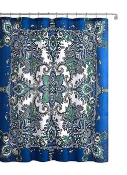 Istanbul Blue Fabric Shower Curtain: Floral Mandala Design