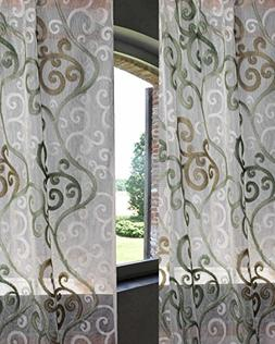 """SLV Ivory Netted Sage Green Scroll 48"""" Wide Living Room Wind"""