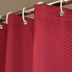 Eforcurtain Luxurious Waffle Weave Red Background Shower Cur