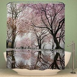 Colorful Star Japanese Cherry Blossoms Design Shower Curtain