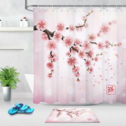 Japanese Pink Cherry Blossom Shower Curtain Bathroom Set Pol