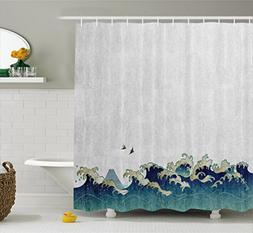 Ambesonne Japanese Wave Shower Curtain