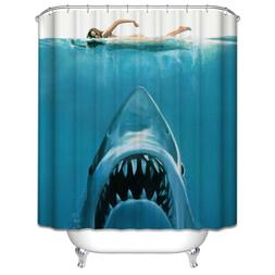 Jaws Shower Curtain Shark Underwater Ocean Nautical Summer B