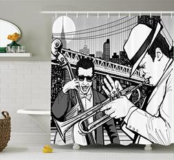 Ambesonne Jazz Music Decor Shower Curtain Set, Illustration