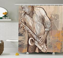 Ambesonne Music Shower Curtain, Jazz Musician Playing the Sa