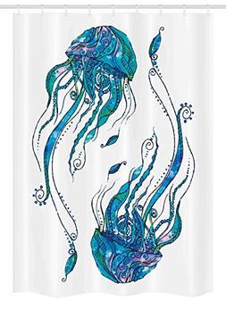 Jellyfish Decor Stall Shower Curtain by Ambesonne, Jellyfish