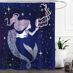 Colorful Star Jellyfish and Mermaid Design Shower Curtain,Wa