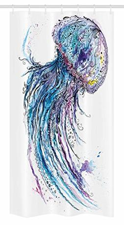 Ambesonne Jellyfish Stall Shower Curtain, Aqua Colors Art Oc