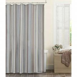 MAYTEX Jodie Chenille Striped Fabric Shower Curtain, 72X72 7