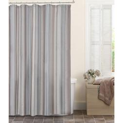 MAYTEX Jodie Chenille Striped Fabric Shower Curtain, Taupe