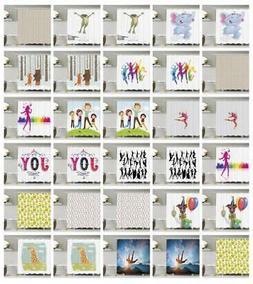 JOY Pattern Shower Curtain Fabric Decor Set with Hooks 4 Siz