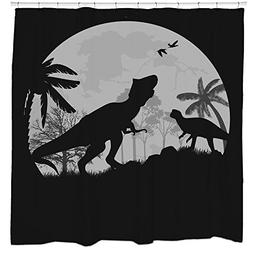 Jurassic park dinosaur shower curtain trex full moon hallowe