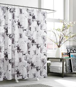 Kensie Halle Gray Floral Watercolor Modern Art Fabric Shower