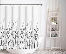 Kensie Vicki White Black 100% Cotton Fabric Shower Curtain,