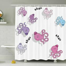 Ambesonne Kids Cute Cartoon Octopus Art Shower Curtain Set