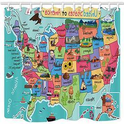 NYMB Kids Map of The United States Bath Curtain, Cartoon Fun