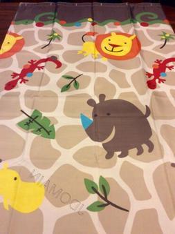 Kids Safari Animals Fabric Shower Curtain Colorful Adorable