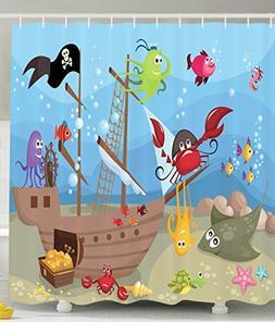 Ambesonne Kids Shower Curtain Baby Nursery Decor by, Ocean O