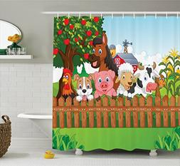 Kids Shower Curtain Cartoon Decor by Ambesonne, Cute Farm An