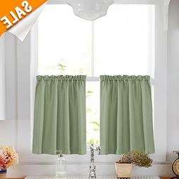 "Lazzzy Olive 24"" Kitchen Curtains for Bathroom Sage Green Cu"