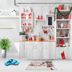 Kitchen Interior Red Christmas Decor Shower Curtain Hook Wat