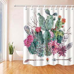 Mexican Wild Cactus Shower Curtains Bathroom Waterproof Fabric /& Hooks 71/""