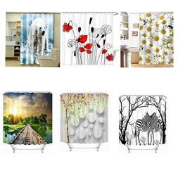 L&N Cloth Shower Curtain Fabric Bathroom Decor Set with Hook
