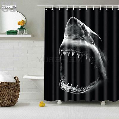 12 Hooks Shower Curtain Fabric Waterproof Bathroom Polyester