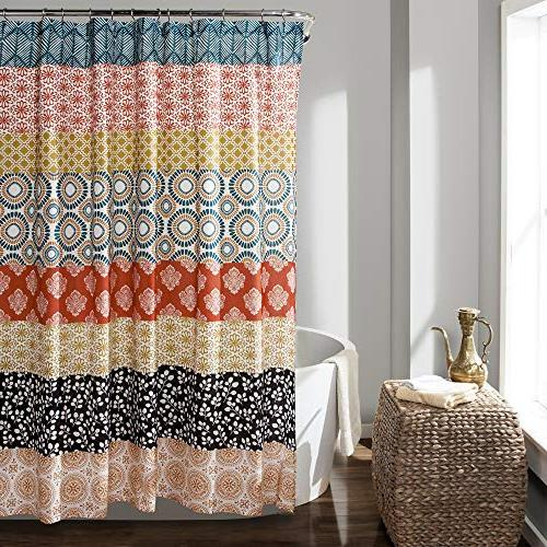"Lush Decor 16T000209 Bohemian Stripe Shower Curtain, 72"" x 7"