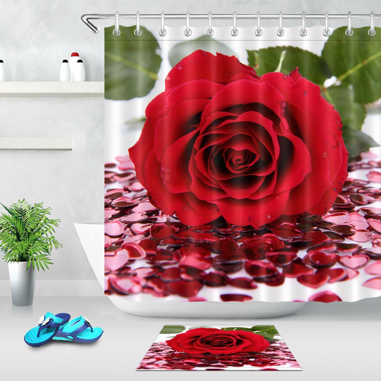 180CM Fabric Shower Curtain Set Red Rose and Confetti Bathro