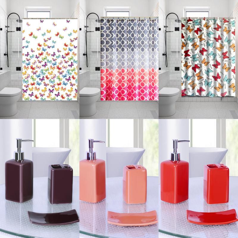 1pc printed bathroom bath fabric shower curtain