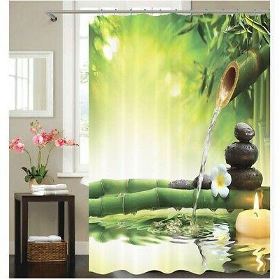 "72"" Fabric Bathroom Shower Curtain Set 3D Printed Waterproof"