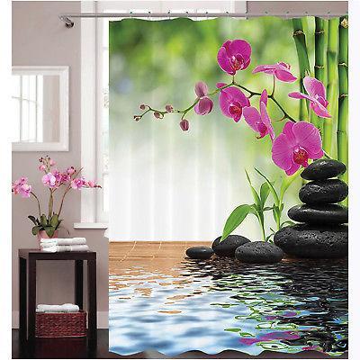 3D Zen Bamboo Fabric Waterproof Shower Curtain Set Bathroom