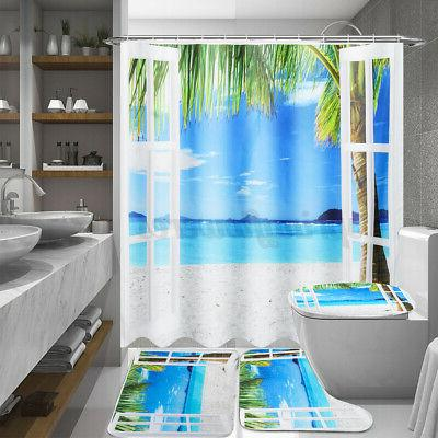 4Pcs/Set Occean Waterproof Shower Curtain Toilet Lid Bathroom