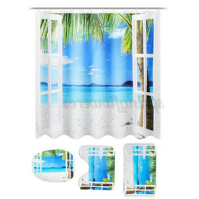 4Pcs/Set Occean Waterproof Curtain Bathroom Mat