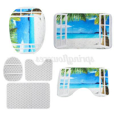 4Pcs/Set Waterproof Curtain Lid Bathroom Mat USA