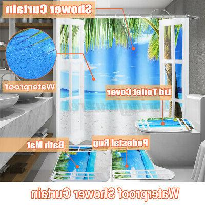 4pcs set occean waterproof shower curtain toilet