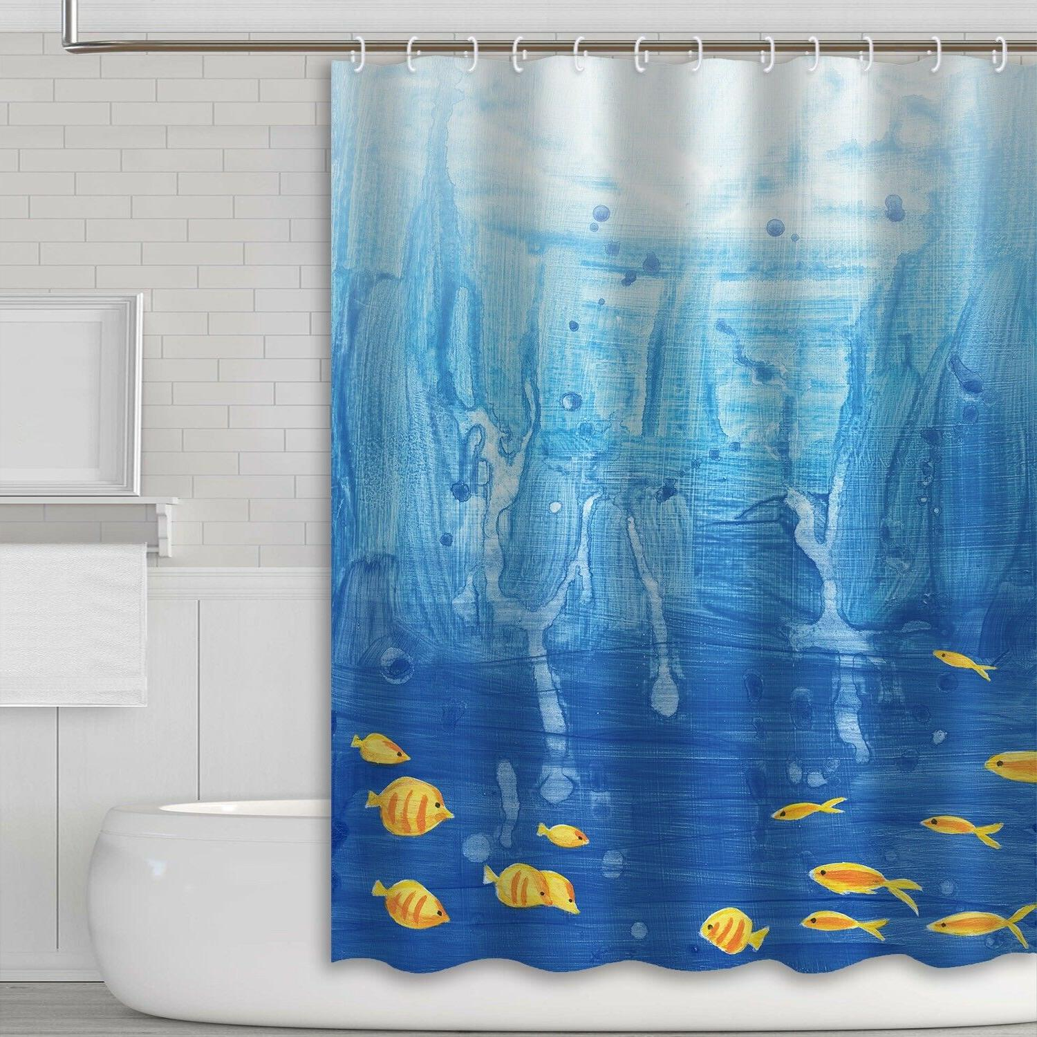 "HQ 69""X70"" 3D Printed Waterproof Fabric Bathroom Shower Curt"