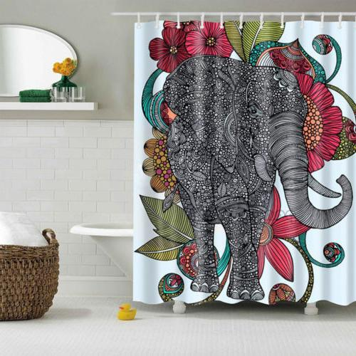 "71"" Bathroom Shower Curtain Waterproof Polyester 3D Elephant"