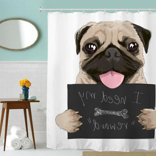 71in Pug Puppy Dog Shower Curtain Waterproof Polyester Fabri