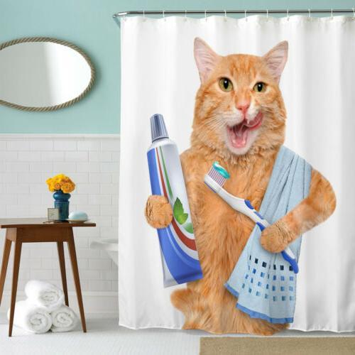 US Fabric Bathroom Curtain Waterproof Hooks